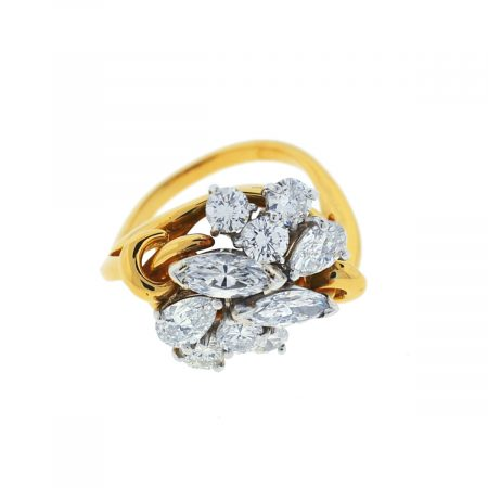 14k Yellow Gold Diamond Ladies Cocktail Ring Approx 2.5 Cts.
