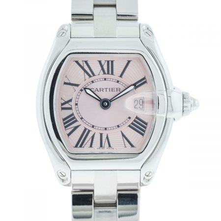 Cartier Steel Roadster 2675 Pink Dial Stainless Ladies Quartz Watch