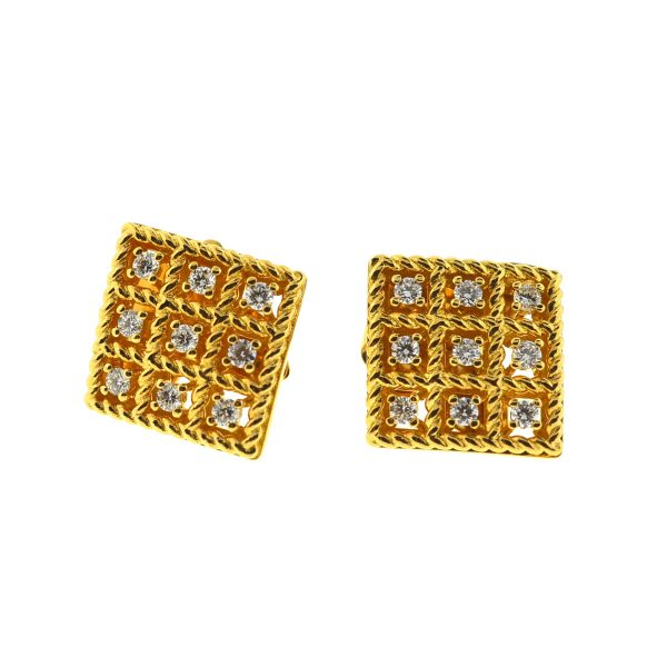 Roberto Coin 18k Yellow Gold Diamond Roman Barocco Square Stud Earrings