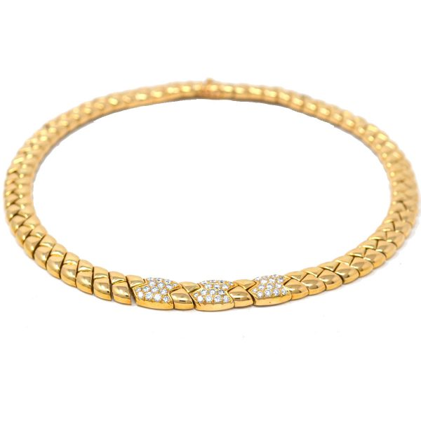 Van Cleef & Arpels 18k Yellow Gold Vintage Diamond Choker Necklace