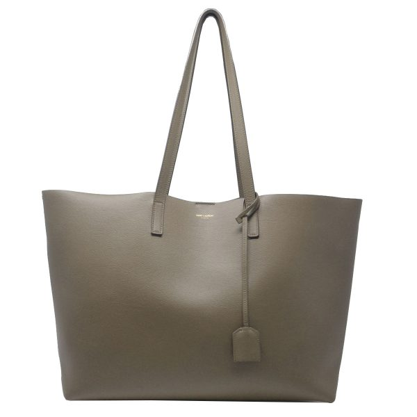 YSL Saint Laurent East-West Olive Green Leather Shopper Tote Bag