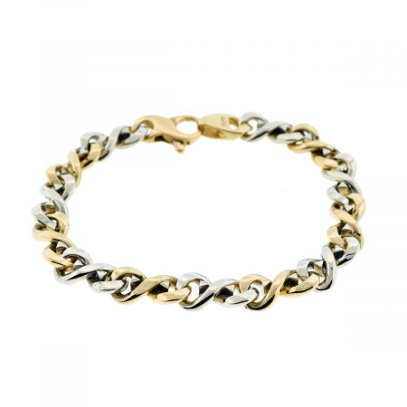 14K Two Tone Gold Men's Link Bracelet