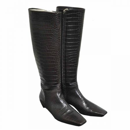Christian Dior Authentic Brown Embossed Alligator Skin Ladies Boots Size 39