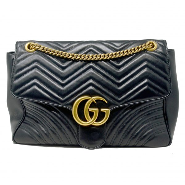 Gucci Marmont Large Black Leather Shoulder Bag