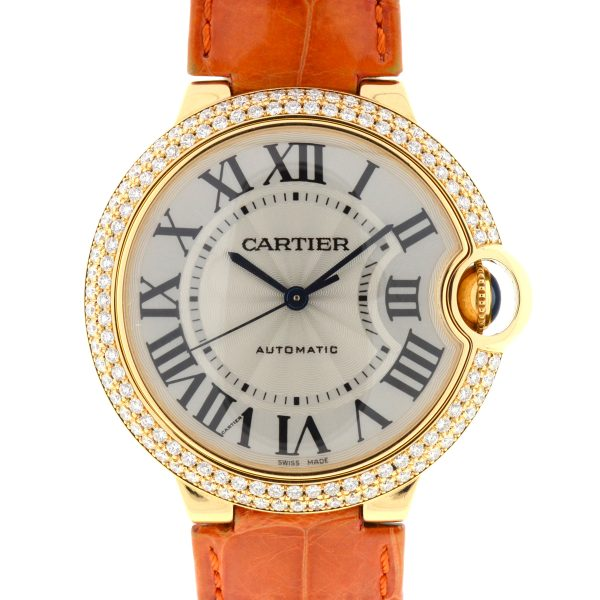 Cartier 3002 Ballon Bleu 18k Yellow Gold Factory Diamond Bezel Watch