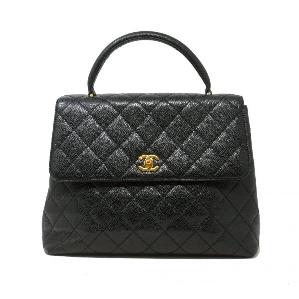 Chanel Black Caviar Leather Top Handle Handbag