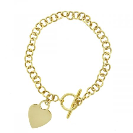 14k Yellow Gold Heart Pendant Round Link Toggle Clasp Bracelet