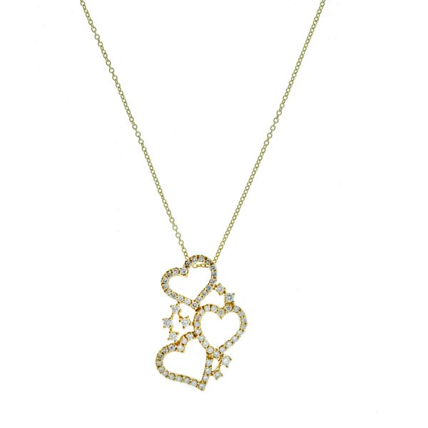 18k Yellow Gold 3 Heart Diamond Pendant Necklace .74 Cts.