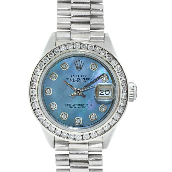 Rolex 6916 Datejust 18k White Gold Blue MOP Diamond Dial Stainless Steel Watch