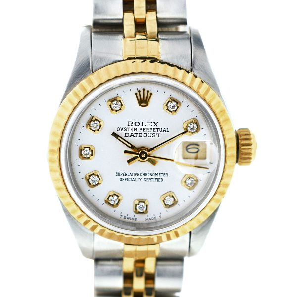 Rolex Datejust 69173 Two Tone White Diamond Dial Ladies Watch