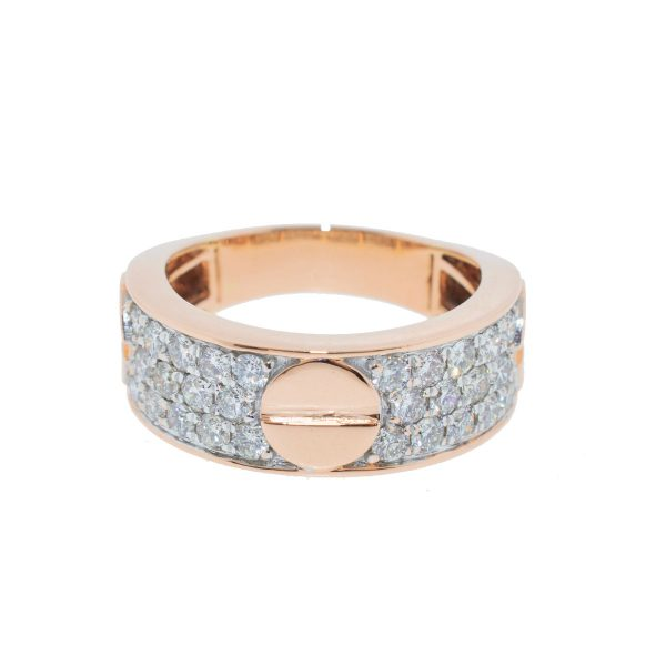 14k Rose Gold Pave Diamond Round Screw Style Men's Band Ring