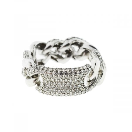 Sterling Silver Cubic Zirconia Cuban Link Ring