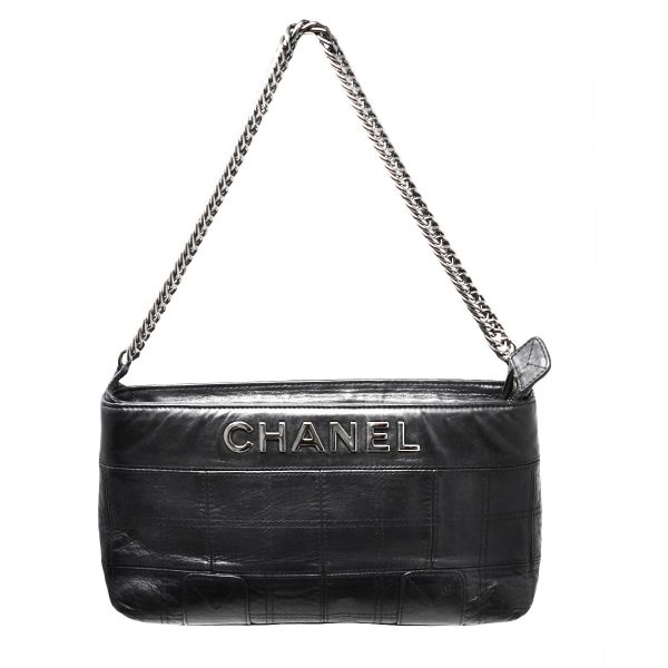 CHANEL Small Black Chocolate Bar Quilted Leather Shoulder Bag