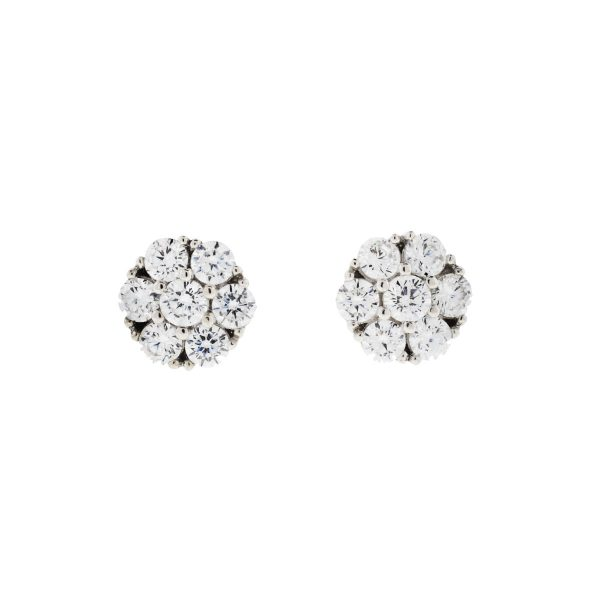 Sterling Silver Cubic Zirconia Cluster Fashion Round Stud Earrings