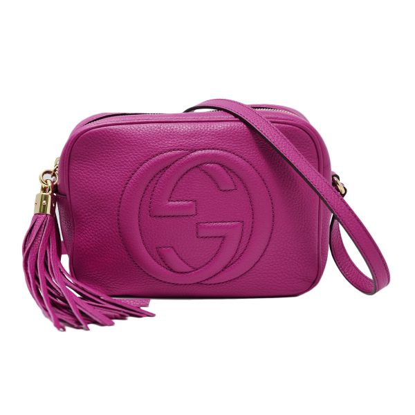 Gucci Soho Disco Fushcia/Magenta Small Leather Shoulder Crossbody Bag