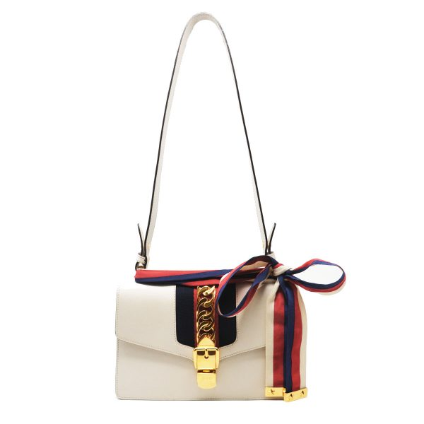 Gucci Sylvie Small White Leather Shoulder Bag