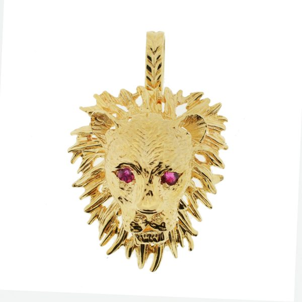 14k Yellow Gold Ruby Eyes Lion Head Broach and Pendant