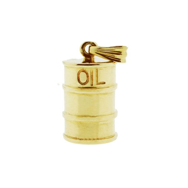 14k Yellow Gold Oil Barrel Necklace Pendant Charm