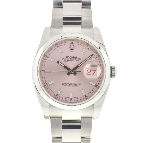 Rolex 116200 Datejust 36mm Stainless Steel Pink Dial Automatic Watch