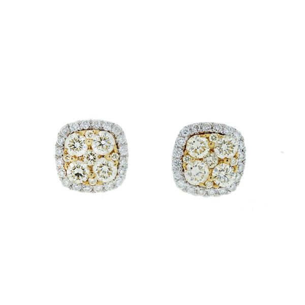 14k White and Yellow Gold Halo Style Square Diamond Stud Earrings