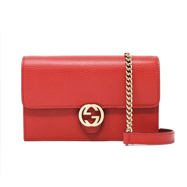 Gucci Red Wallet on Chain WOC Interlocking GG Leather Crossbody Bag