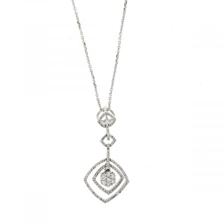14k White Gold Pave Diamond 3 Station Drop Necklace