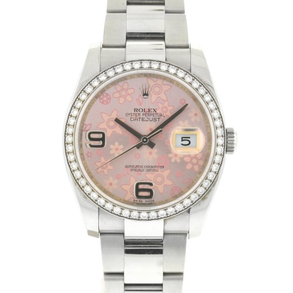Rolex 116244 Datejust Pink Flower Dial Factory Diamond Bezel 36mm Watch