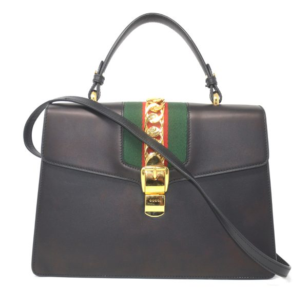 Gucci Sylvie Medium Top Handle Black Leather Bag