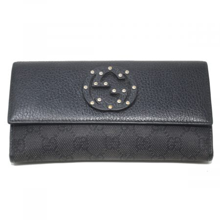 Gucci Black Leather / Monogram Canvas GG Ladies Long Wallet