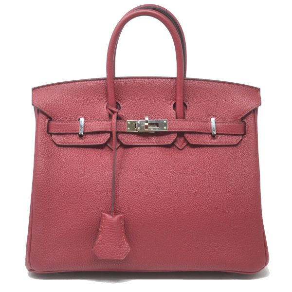 HERMES Birkin 25 Rouge Casaque Togo Leather Satchel Handbag