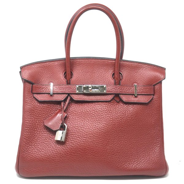 HERMES Birkin 30 Clemence Rouge Garance Leather Satchel Handbag