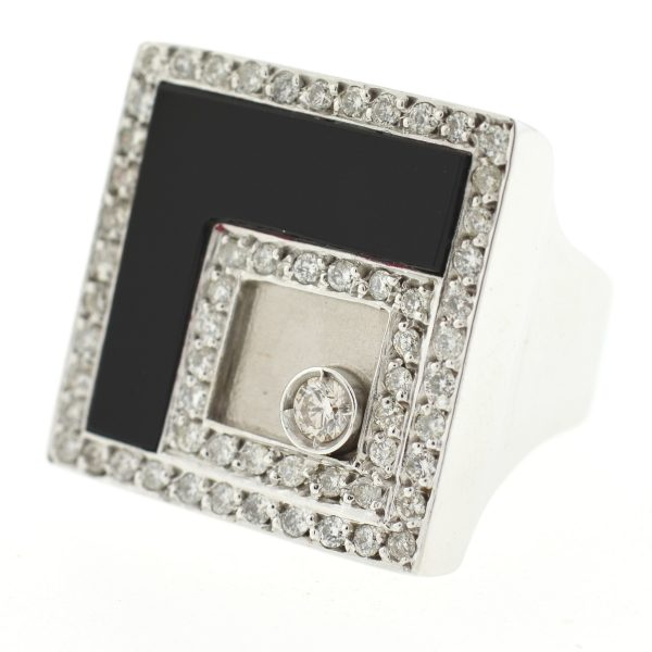 18k White Gold Square Diamond & Onyx Ring
