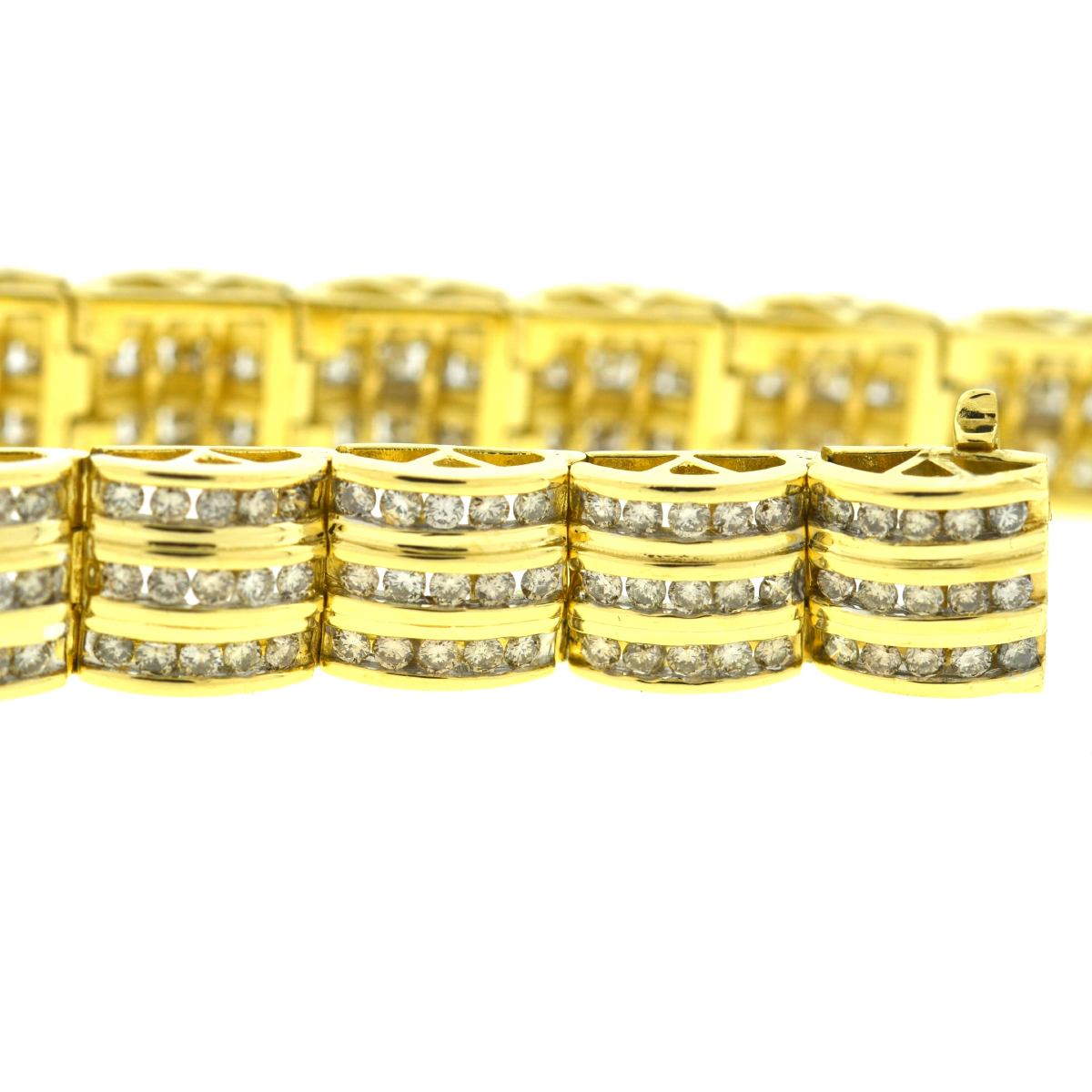 14k Yellow Gold 3 Row Diamond Bracelet Approx. 3.00 cts