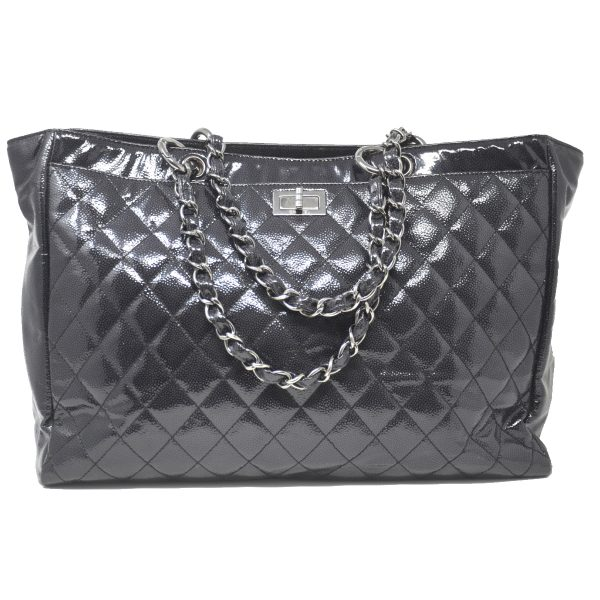Chanel Black Patent Leather Caviar Reissue Tote Shoulder Bag