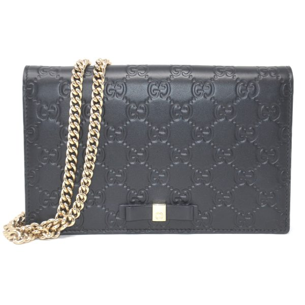 Gucci WOC Mini Guccissima Signature Black Leather Crossbody Bag