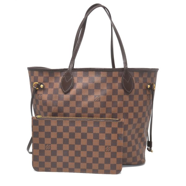 Louis Vuitton Neverfull MM Damier Ebene Canvas w/ Pouch Tote Shoulder Bag