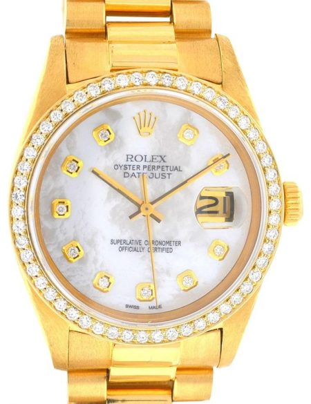 Rolex 16018 Datejust 18k Yellow Gold MOP Diamond Dial Watch