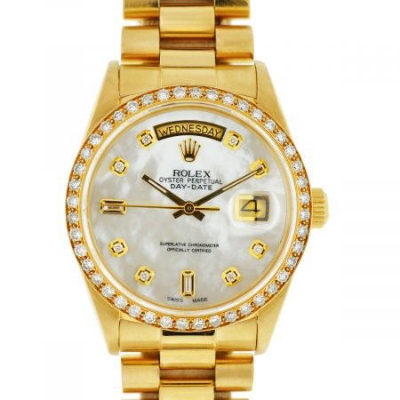 Rolex 18038 18k Yellow Gold Single Quick President AM Diamond Bezel Watch