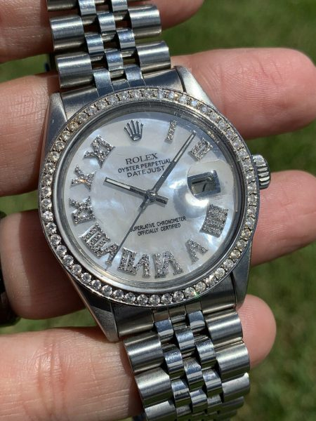 Rolex 16014 36mm Datejust Mother Of Pearl Diamond Dial And Diamond Bezel Watch