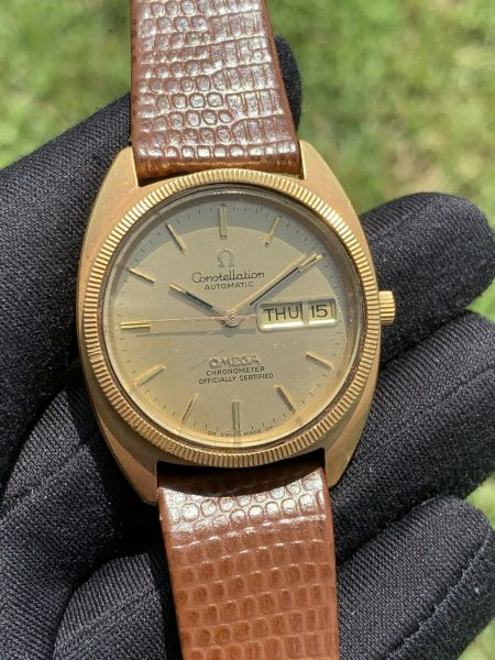Omega Constellation Day Date Automatic 18k Yellow Gold Watch