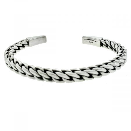 David Yurman Chain Woven Sterling Silver Men's Cuff Bracelet