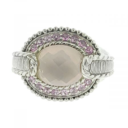 Judith Ripka Pink Quartz and Pink Sapphire Cocktail Ring