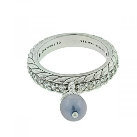 Judith Ripka Sterling Silver Ring With Small Dangling Pearl
