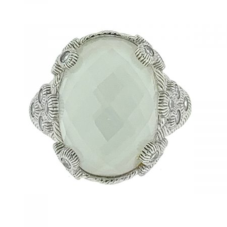 Judith Ripka Clear Quartz and Cz Sterling Silver Ring