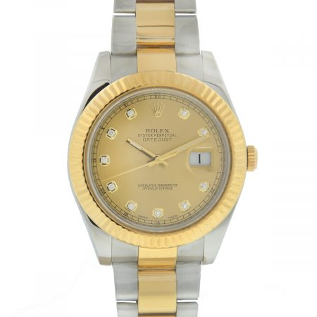 Rolex 116333 Datejust II Two Tone Factory Champagne Diamond Dial Men's Watch