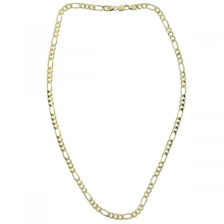 """14k Yellow Gold Figaro Style 20"""" Chain Necklace"""