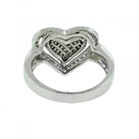 14k White Gold Diamond Pave Heart Ring Aprox .87 Ctw
