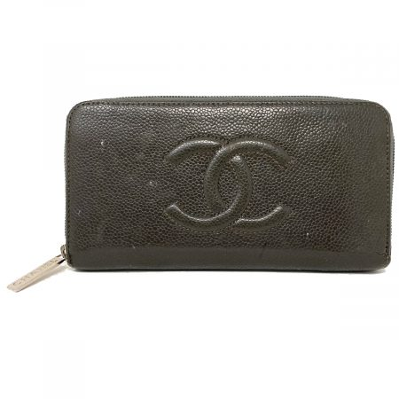Chanel Timeless CC Gray Caviar Leather Zipper Wallet