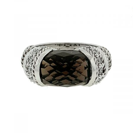 Judith Ripka Sterling Silver Brown Stone Cocktail Ring