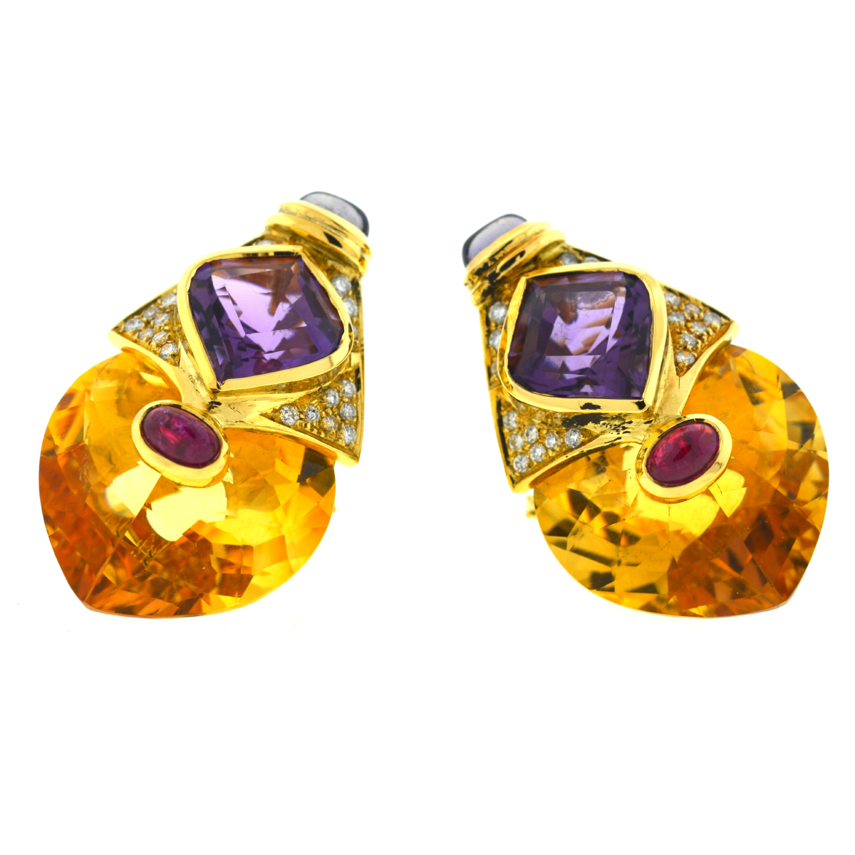 18k Yellow Gold Diamond Citrine Amethyst & Sapphire Cabochon Clip Earrings